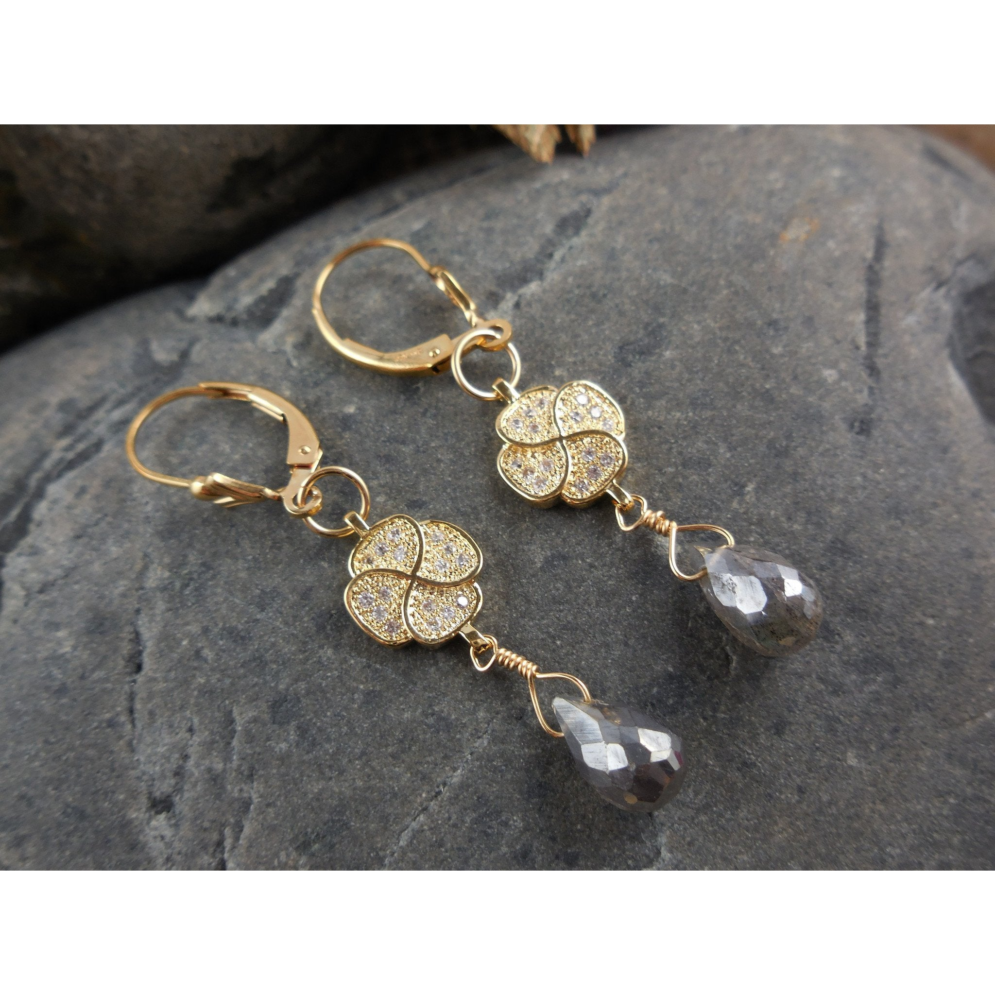 Gold-Filled Labradorite Gemstone Earrings
