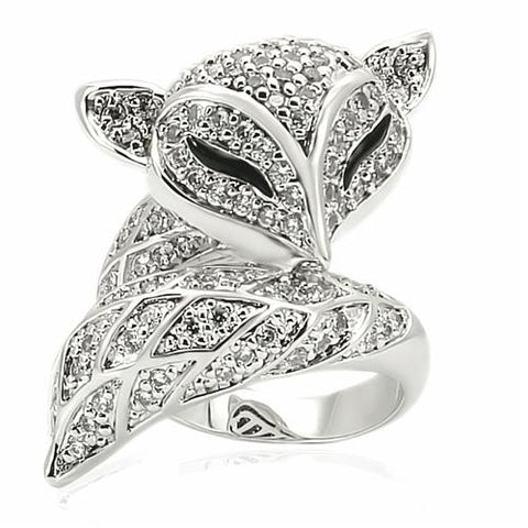 Rhodium-Plated-Brass with CZ Fox Ring