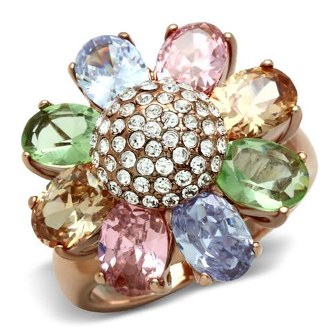 14kt Gold-Plated-Brass Flower CZ Ring