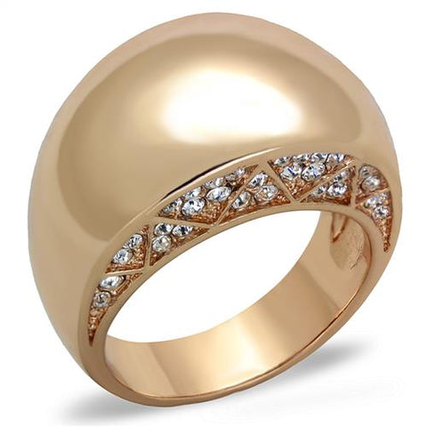 Ion Plated Rose Gold Stainless Steel & CZ Ring