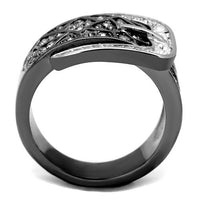 Stainless Steel & CZ Buckle Ring