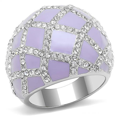 Stainless Steel & Crystal Dome Ring