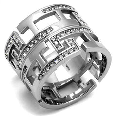 Stainless Steel & Crystal Maze Ring