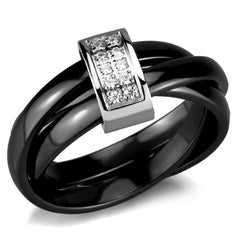 Ceramic, Stainless Steel, & CZ Triple Band Ring
