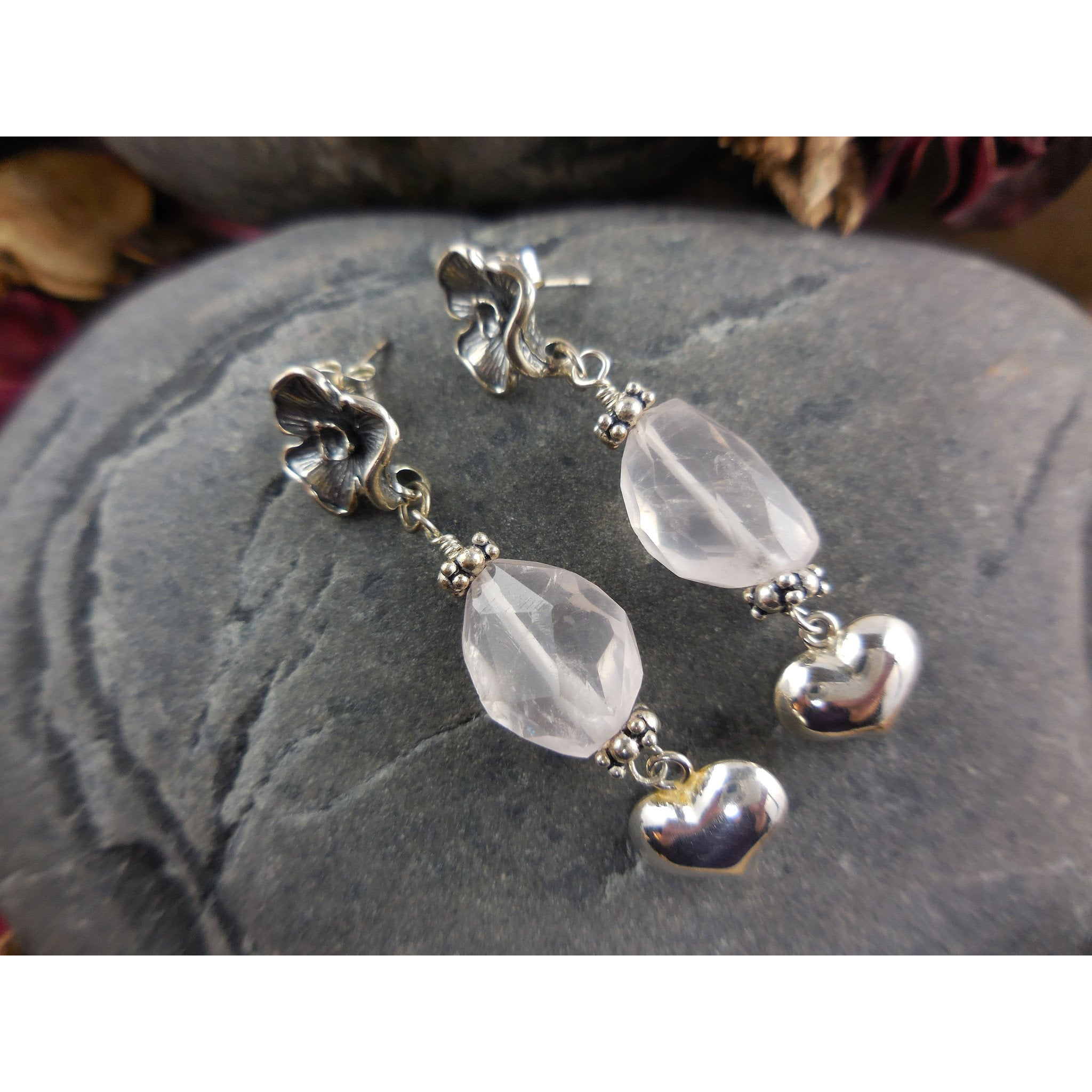 Sterling Silver Rose Quartz Puffy Heart Earrings