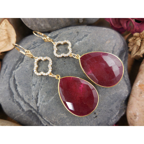 Gold-Filled Ruby Earrings