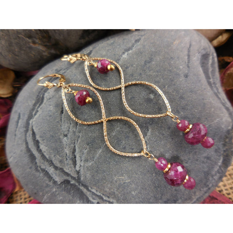 Gold-Filled Ruby Sapphire Corundum Earrings