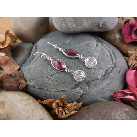 Sterling Silver Ruby Corundum Earrings