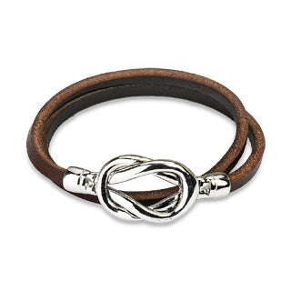 Double Loop Leather Bracelet with Stainless Steel Knot Closure Design - Brown