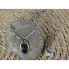 Sterling Silver Smoky Quartz and Dendritic Agate Necklace