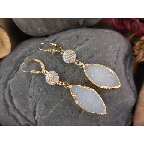 Gold-Filled Agate Drusy Earrings