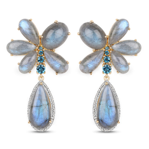 Labradorite, London Blue Topaz, and White Topaz Vermeil Earrings