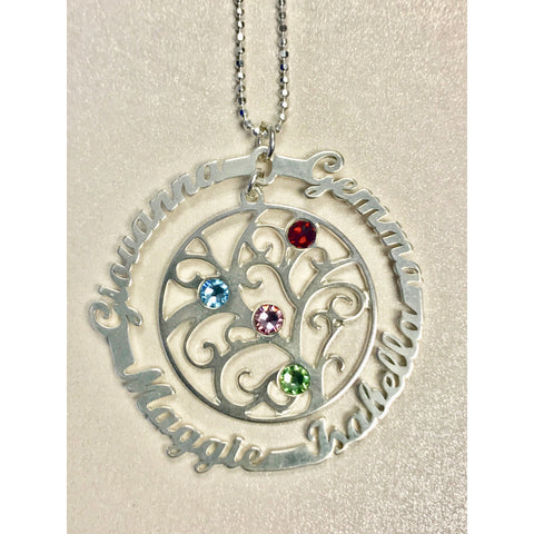 Personalized .925 Sterling Silver Family Tree Necklace - 4 Names