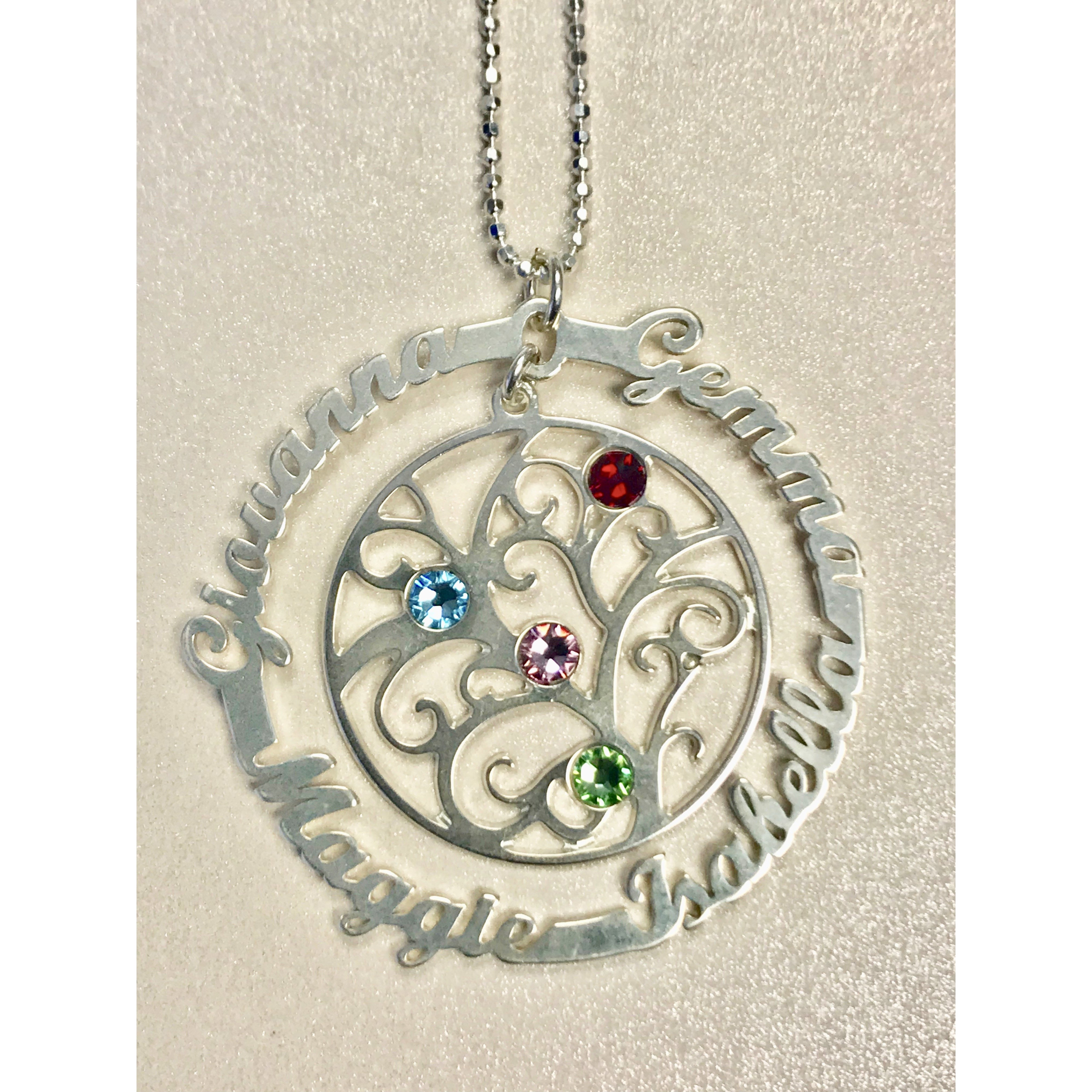 Personalized .925 Sterling Silver Family Tree Necklace - 3 Names