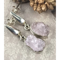 Morganite (Rough) .925 Sterling Silver Post Earrings