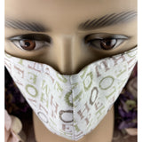 Handsewn Face Cover with Filter Pocket, Bendable Nose Wire, & Adjustable Elastic - Faith, Love, Hope, Home - 5 Sizes