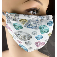 Handsewn Face Mask with Filter Pocket, Bendable Nose Wire, and Adjustable Elastic - Diamonds & Gems - 5 Sizes