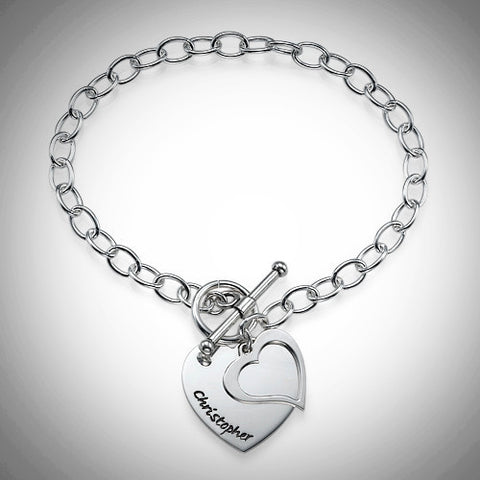Personalized Double Heart .925 Sterling Silver Charm Bracelet