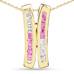 14K Yellow Gold Plated 1.08 Carat Genuine Pink Sapphire and White Sapphire .925 Sterling Silver Pendant