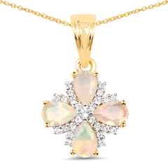Ethiopian Opal & White Topaz 14kt Gold-Plated .925 Sterling Silver Pendant/Necklace