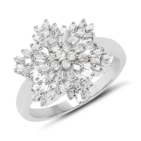 Natural Diamond Cluster .925 Sterling Silver Ring