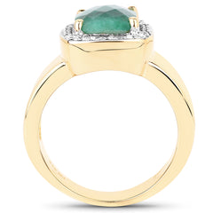 Natural Emerald (Dyed) & White Topaz 14kt Gold-Over-Sterling Ring