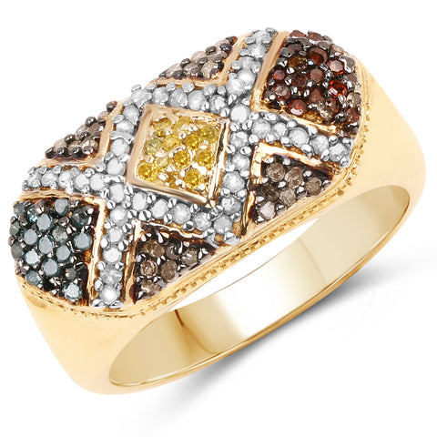 Multi-Colored Natural Diamond Vermeil .925 Ring