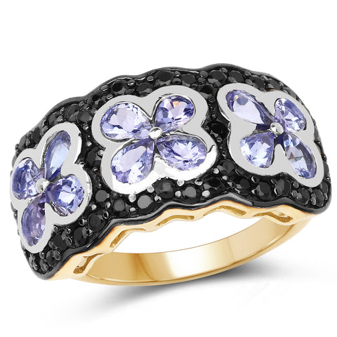 Tanzanite & Black Spinel 14kt Gold-Over-Sterling Ring