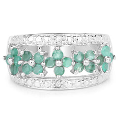 Natural Emerald & Diamond .925 Sterling Ring