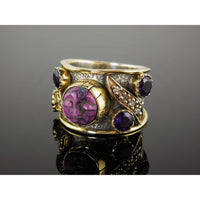 Resin Face & Amethyst & White Topaz Vermeil Bi-Color Sterling Silver Ring - Size 6.25
