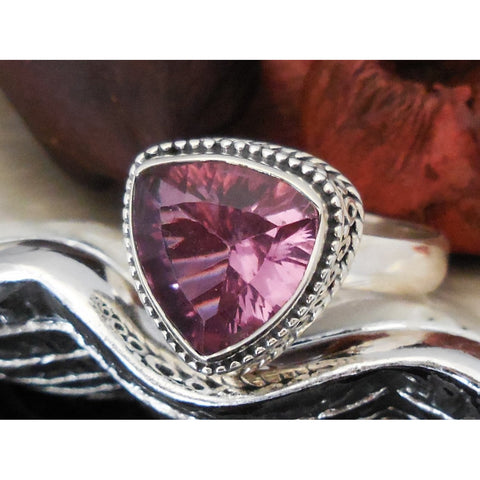 Alexandrite (Lab) Sterling Silver Ring - Size 8.5