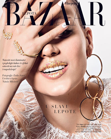 Anuja Tolia earring on model in Harper's Bazaar