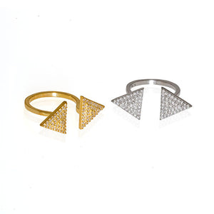 2 Triangle Pave Ring