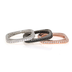 Pave Square Stackable Ring