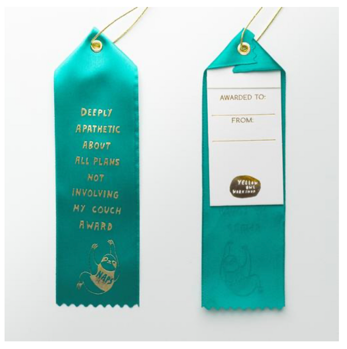 Sloth Deeply Apathetic About All Plans Not Involving My Couch - Award Ribbon Card