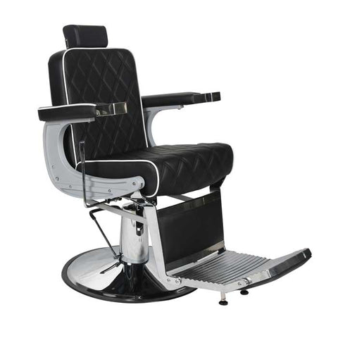Chrysler Barber Chair Black with White Piping