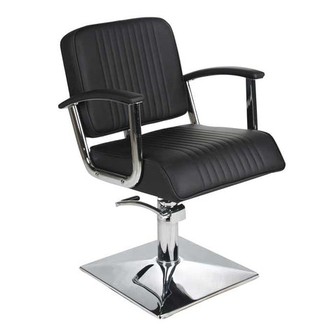 Madison Styling Chair Black with Black Piping and Square Base