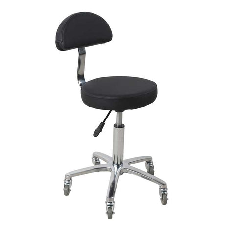Hudson Gas Lift Stool Black with Backrest