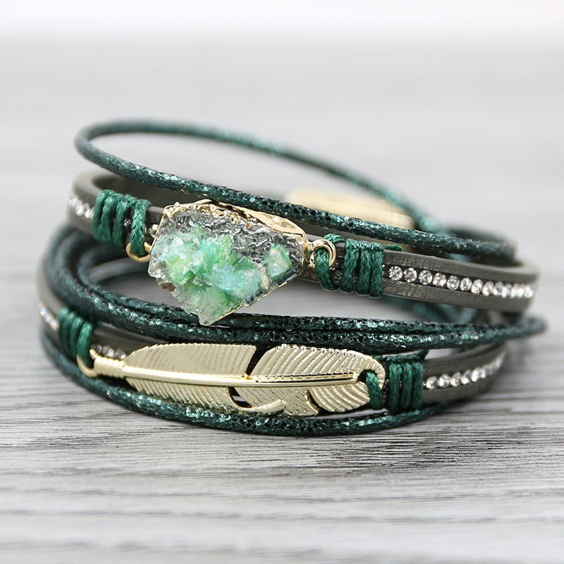 Druzy Green Leather Bracelets