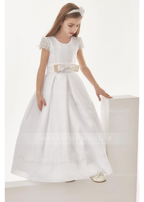 Organza Ball Gown Cap Sleeves Floor Length Communion Dress With Bow(S)