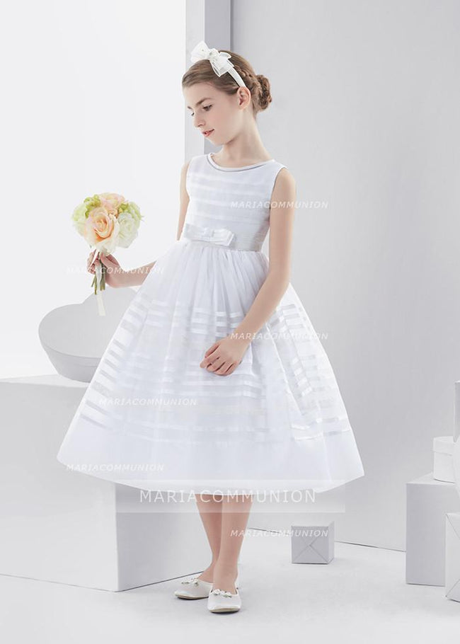 Bateau Neck Sleeveless Tea Length Ball Gown Organza First Communion Dress