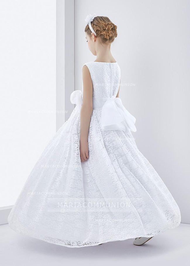 Lace Sleeveless A-Line First Communion Dress With Bow Ribbon