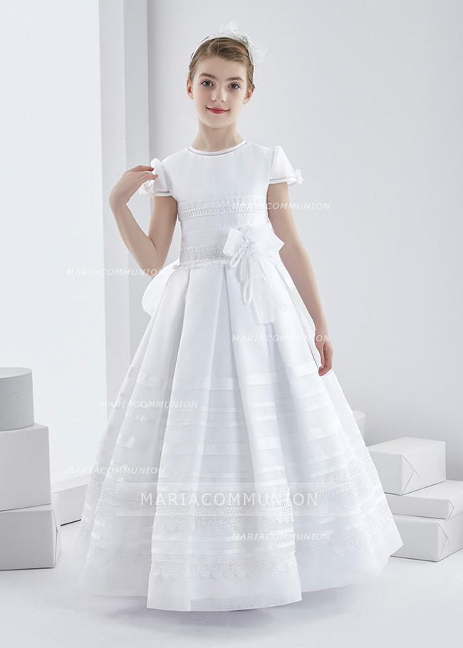 Short Sleeve Jewel Neck Long Lace Trimmed Organza First Communion Dress with Dramatic Bow