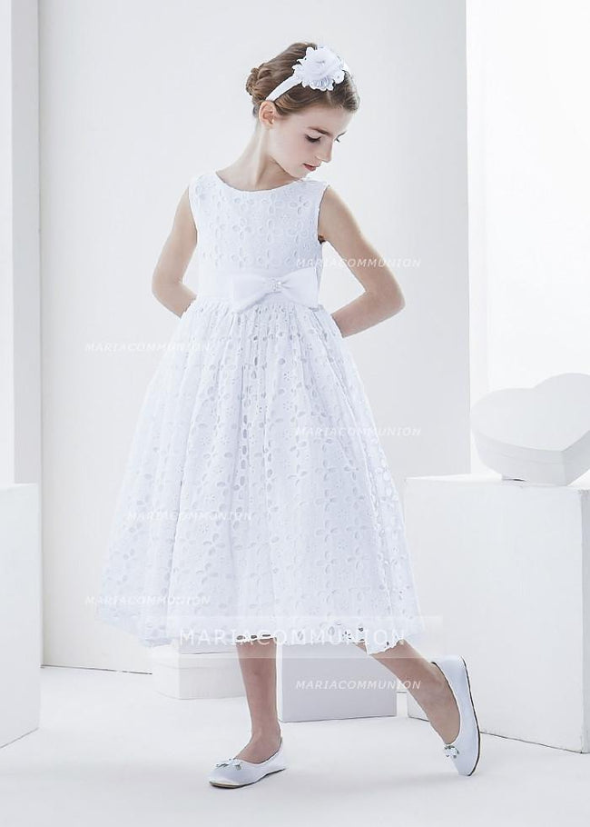 Sleeveless Bateau Neck Tea Length Lace First Communion Dress With Bow