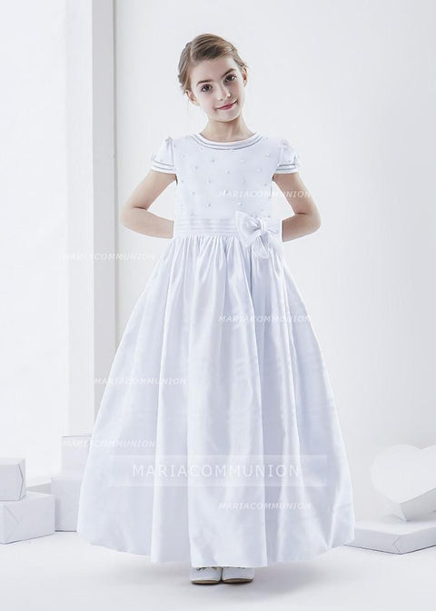 Short Sleeve Beaded Bodice Ball Gown Satin First Communion Dress with Flower