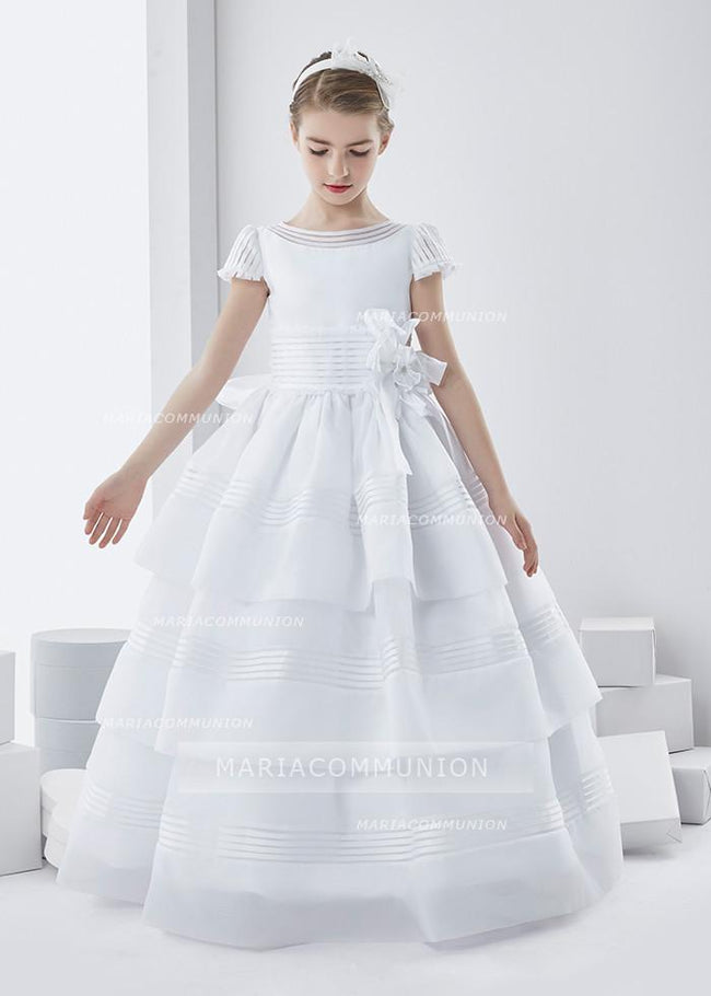 Short Sleeve Ball Gown Floor-length Three-Tiers Skirt Long Organza First Communion Dress with Bow