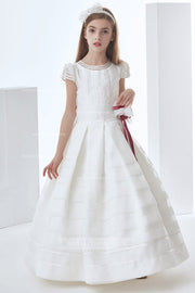 Nectarean Ball Gown Short Sleeve Bow(s) Floor-length Organza Communion Dresses