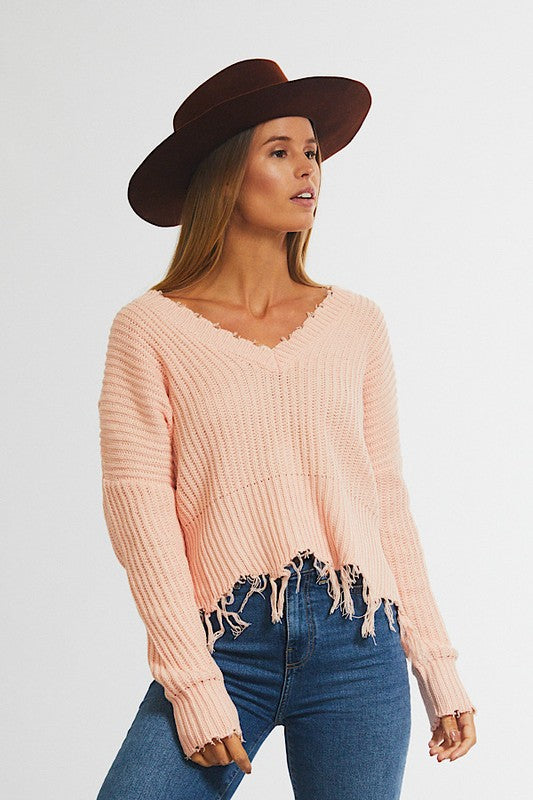 Pink Cotton Distressed Sweater