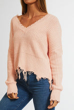 Load image into Gallery viewer, Pink Cotton Distressed Sweater