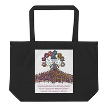 "Load image into Gallery viewer, Large organic tote bag - ""Flower Girl"" by Mina"
